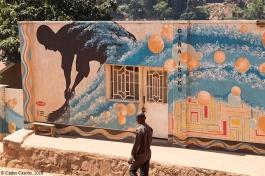 """Invitación a mantener limpia la ciudad en el famoso """"Mural walk"""""""